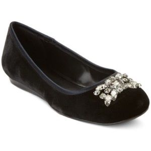 Ralph Lauren Adelisa Black Jeweled Ballet Flats